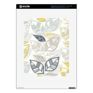blue yellow gray leaves in rows on white iPad 3 decals