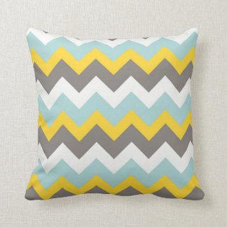Blue, Yellow, Gray, White Chevron Zigzag Pillow