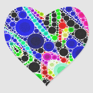 Blue Yellow Green Abstract Heart Sticker