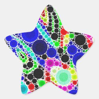 Blue Yellow Green Abstract Star Sticker
