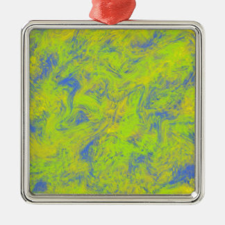 Blue Yellow & Green Design Square Metal Christmas Ornament