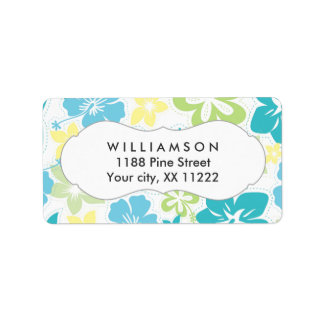 blue yellow green hibiscus hawaiian tropical favor personalized address label