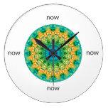 "Blue, Yellow, & Green Mandala ""Now"" Large Clock"