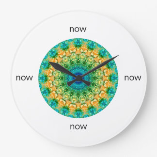 "Blue, Yellow, & Green Mandala ""Now"" Large Clock"