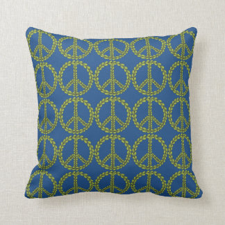 Blue Yellow Green Peace sign with leaves Pattern Throw Pillow