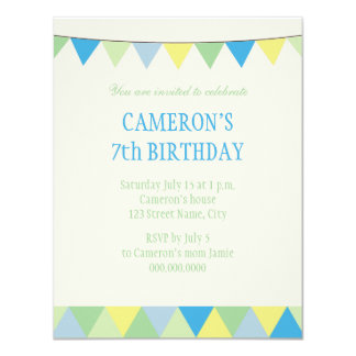 Blue Yellow Green String Pennon Kids Birthday Card