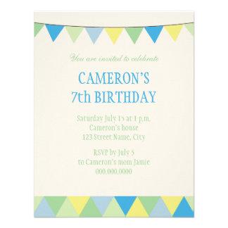 Blue Yellow Green String Pennon Kids Birthday Custom Invitation