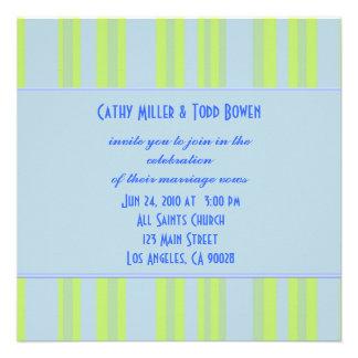 blue yellow green striped wedding custom invite