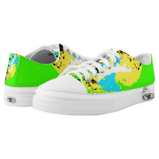 Blue Yellow Green White Black Color Run Printed Shoes