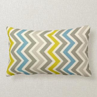 Blue Yellow Grey Chevron Large Pillow