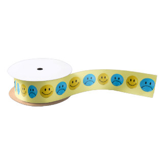 Blue & Yellow Happy Sad Smiley Bi Polar Ribbon