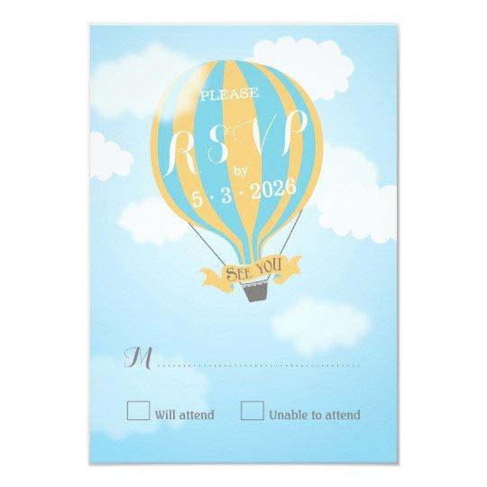 Blue Yellow Hot Air Balloon Baby Shower RSVP Card
