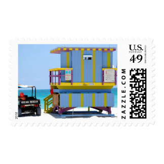 blue yellow lifeguard stand postage