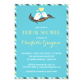 Blue Yellow Love Birds Bridal Shower Invitation