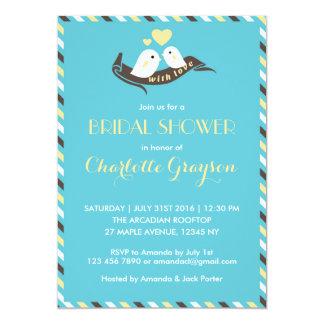 "Blue Yellow Love Birds Bridal Shower Invitation 5"" X 7"" Invitation Card"