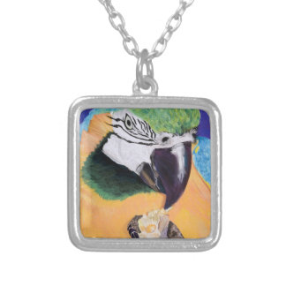 Blue & Yellow Macaw Pastel Art Necklace
