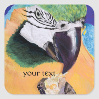 Blue & Yellow Macaw Pastel Art Sticker