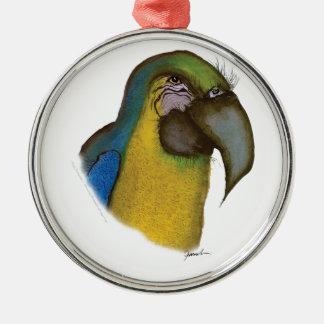blue yellow macaw, tony fernandes metal ornament