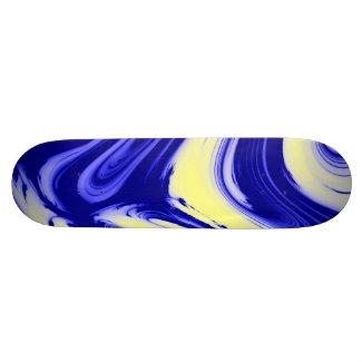 Blue Yellow Marble Melt Skateboard deck.
