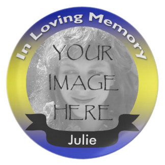Blue & Yellow Memorial Photo Plate