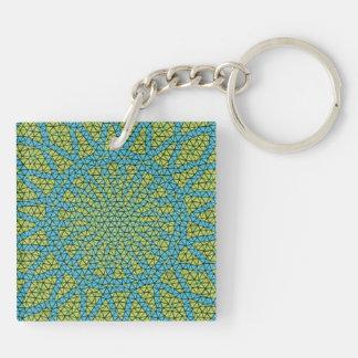 Blue yellow moasic Double-Sided square acrylic keychain