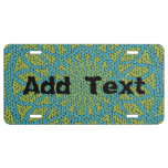 Blue yellow moasic license plate