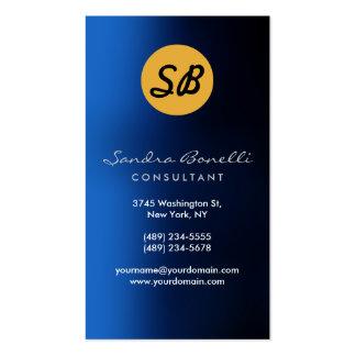 Blue Yellow Monogram Business Card