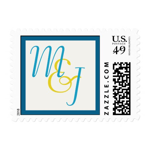 Blue & Yellow Monogrammed Custom Postage Stamp Postage Stamp