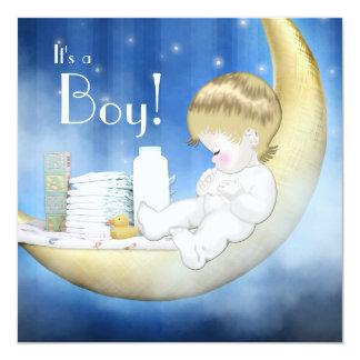 Blue Yellow Moon Baby Boy Shower Invitations