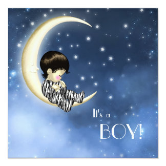 Blue Yellow Moon Baby Shower Card