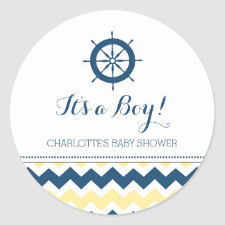 Blue Yellow Nautical Baby Shower Favor Stickers