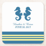 """Blue Yellow Nautical Seahorse Paper Coasters<br><div class=""""desc"""">Elegant and classic Nautical Seahorse Wedding Paper Coasters with a pair of simple seahorses and an array of stripes in dark navy blue and yellow. These nautical beach themed coasters can be easily customized with your wedding details. For more customization options,  click on the Customize It button.</div>"""