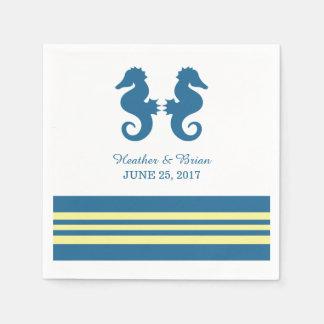 Blue Yellow Nautical Seahorse Paper Napkins Standard Cocktail Napkin