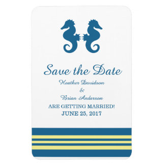 Blue Yellow Nautical Seahorse Save the Date Magnet