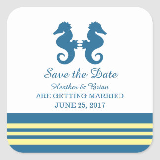 Blue Yellow Nautical Seahorse Save the Date Square Sticker