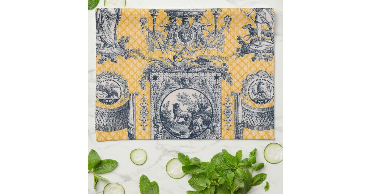 Blue Yellow Neoclassical Toile French Country Kitchen Towel