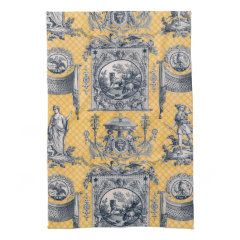 Blue & Yellow Neoclassical Toile French Country Kitchen Towels
