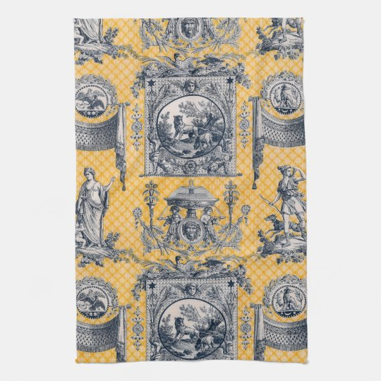 Blue Yellow Neoclical Toile French Country Kitchen Towel