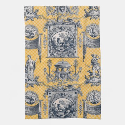 Blue & Yellow Neoclassical Toile French Country Towel