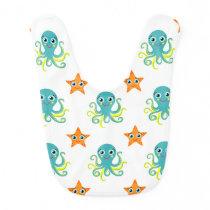 Blue Yellow Octopus; Orange Starfish Baby Bib