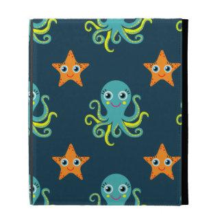 Blue & Yellow Octopus; Orange Starfish; Blue-Green iPad Folio Cases