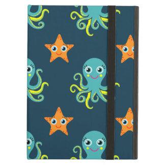 Blue & Yellow Octopus; Orange Starfish; Blue-Green Case For iPad Air