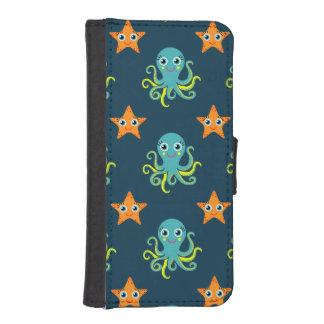 Blue & Yellow Octopus; Orange Starfish; Blue-Green iPhone 5 Wallet Case