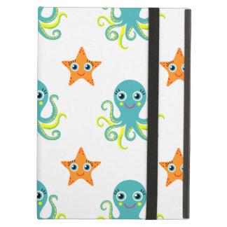 Blue Yellow Octopus; Orange Starfish iPad Air Cases