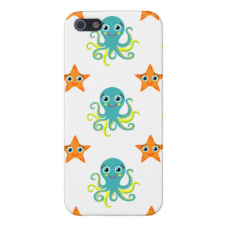 Blue Yellow Octopus; Orange Starfish iPhone 5 Case