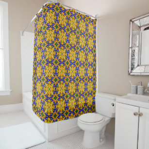 Blue Yellow Orange Talavera Tile Pattern Shower Curtain