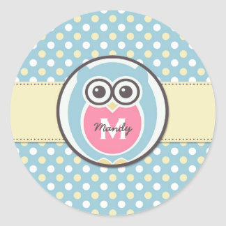 Blue Yellow Owl Cartoon Monogram Sticker