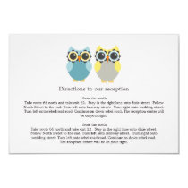 Blue & Yellow Owl Design Wedding Direction Cards