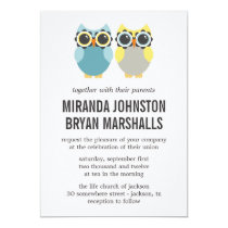 Blue & Yellow Owls Design Wedding Invitations