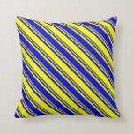 [ Thumbnail: Blue & Yellow Pattern of Stripes Throw Pillow ]